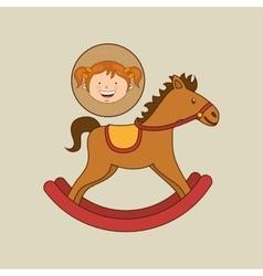 beautiful girl smiling rocking horse vector image