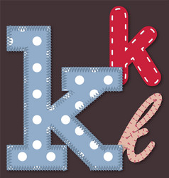 Set of stitched font -letter k vector