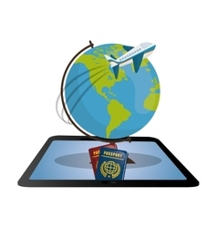 Travel tablet globe airplane password design vector