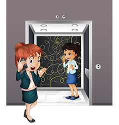 Two girls at the elevator vector