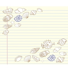 Notebook design set with cockleshells vector
