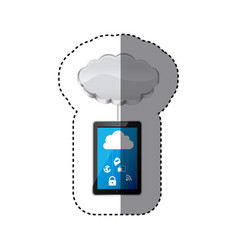 Smartphone with cloud data services vector