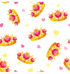 Seamless pattern with cute princess crowns vector