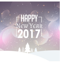 Beautiful snowy background with 2017 new year vector
