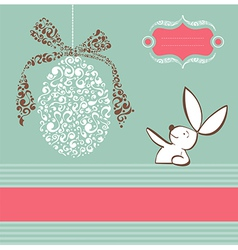 Tribal egg easter bunny background vector