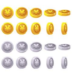 Set of 3d metallic yen coin yuan symbol vector