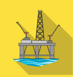 Oil rig on the wateroil single icon in flat style vector