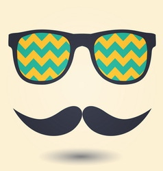 Mustache and glasses icon vector