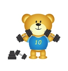 Bear cartoon boy playing barbell vector