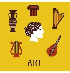 Classical flat art and musical instruments icons vector
