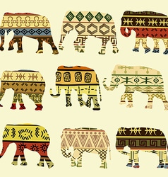 Patterned elephants vector image