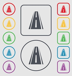 Road icon sign symbols on the round and square vector