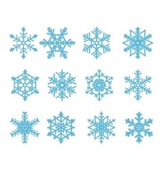 Blue snowflakes isolated on a white background vector