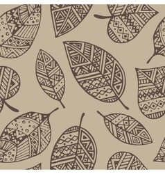 Brown line graphic leaf seamless pattern pr vector