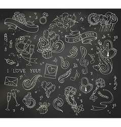 Set of chalk love doodles icons on blackboard vector