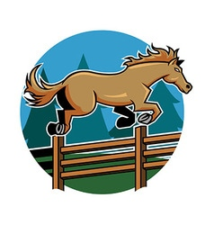 Horse jump ranch fence vector