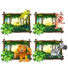 Four frames of wild animals in the jungle vector image