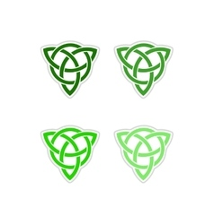Set of paper stickers on white background celtic vector image