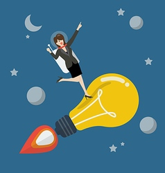 Business woman astronaut on a moving lightbulb vector
