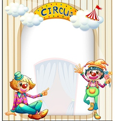 A circus entrance with a male and a female clown vector image vector image