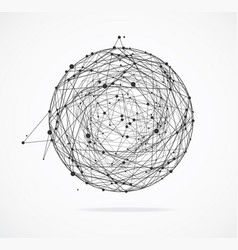 Abstract geometric sphere with points and lines vector
