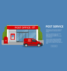 Banner post office service with postman riding car vector
