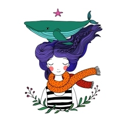 Beautiful young girl sailor with a whale in her vector image