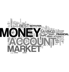 best money market account text word cloud concept vector image vector image