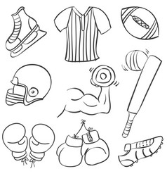 Collection of sport equipment art vector
