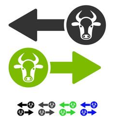 Cow exchange arrows flat icon vector