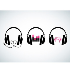 Creative music headphones logo set vector