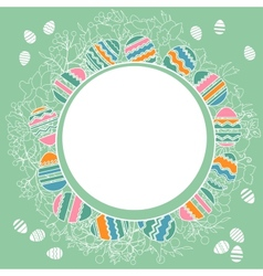 Delicate frame with easter eggs vector