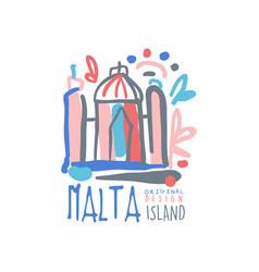 Exotic summer travel to malta logo vector