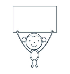 figure monkey with a wood in the hand icon vector image vector image