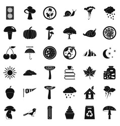 Forest plantation icons set simple style vector