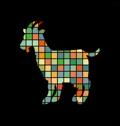 goat farm mammal color silhouette animal vector image vector image