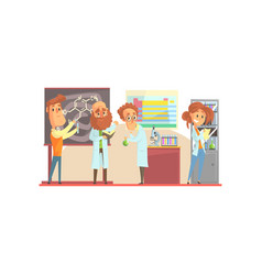Group of men scientists and girl assistant in vector