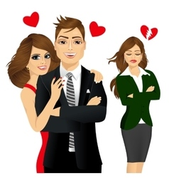 Handsome man and beautiful brunette laughing happy vector