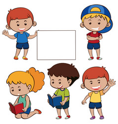 happy children and white paper vector image vector image