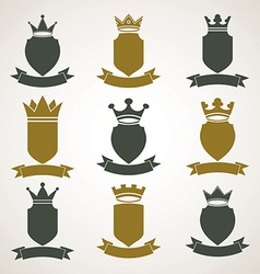 Heraldic royal blazon set - imperial striped decor vector