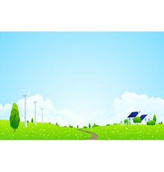landscape with trees clouds vector image