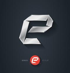 Letter E silver font Elegant Template for company vector image