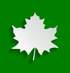 Maple leaf sign paper whitish icon with vector