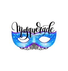 masquerade lettering logo design with mask and vector image