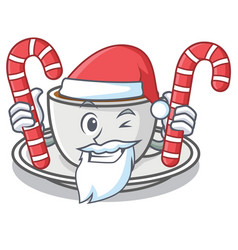 Santa with candy coffee character cartoon style vector