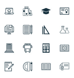 set of 16 education icons includes certificate vector image vector image