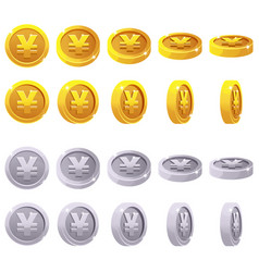 set of 3d metallic yen coin yuan symbol vector image vector image