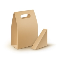 Set of cardboard take away handle lunch boxes vector