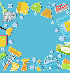 set of icons for cleaning tools cleaning template vector image