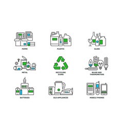 set of recycling icons in line design recycle vector image vector image